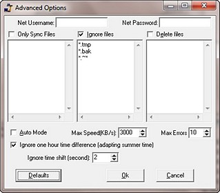 SyncEXP Advanced Options screen